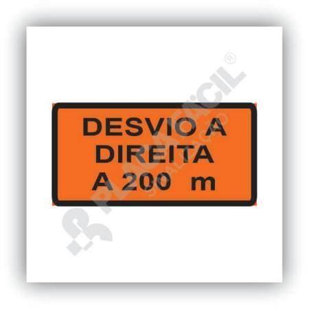 Placa de Obras Desvio a Direita a 200m