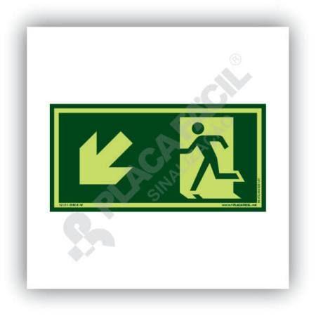 Placa de saida de emergencia descida a esquerda