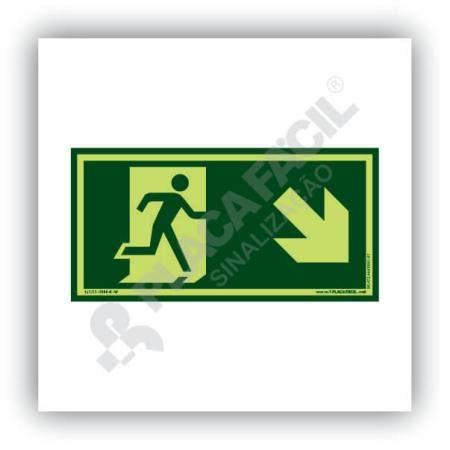 placa de saida de emergencia descida a direita