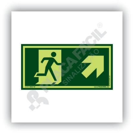placa de saida de emergencia subida a direita