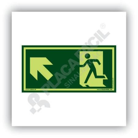 placa de saida de emergencia subida a esquerda