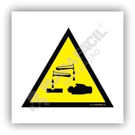 placa de sinalizacao cuidado risco de corrosao