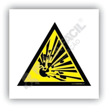 placa de sinalizacao cuidado risco de explosao