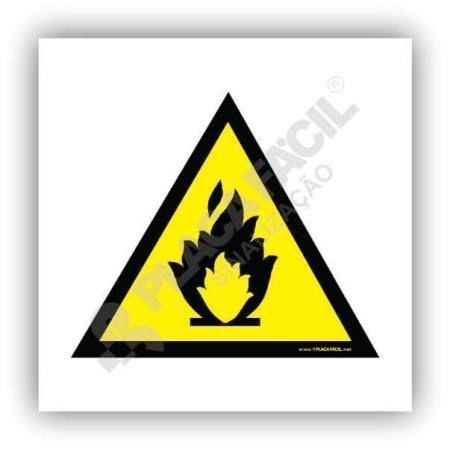 placa de sinalizacao cuidado risco de incendio