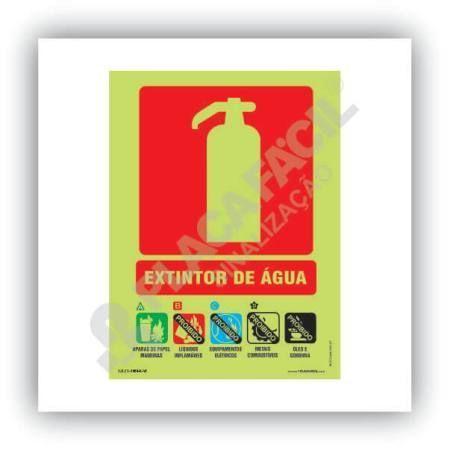 placa indicativa de extintor agua