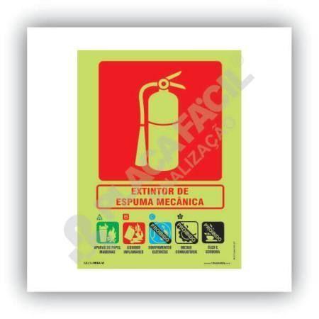 placa indicativa de extintor de incendio com espuma mecanica