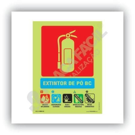 placa indicativa de extintor po bc