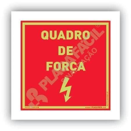 placa indicativa de quadro de forca