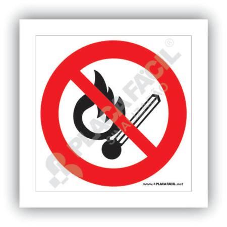 placa proibido produzir chama