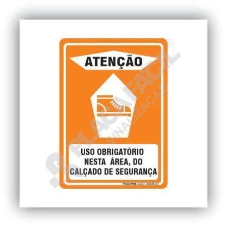 Placa Atenção Uso Obrigatório Calçado de Segurança