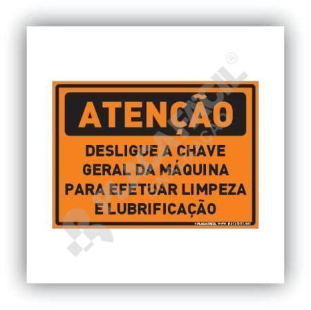 Placa Atenção Desligue a Chave Geral Limpeza