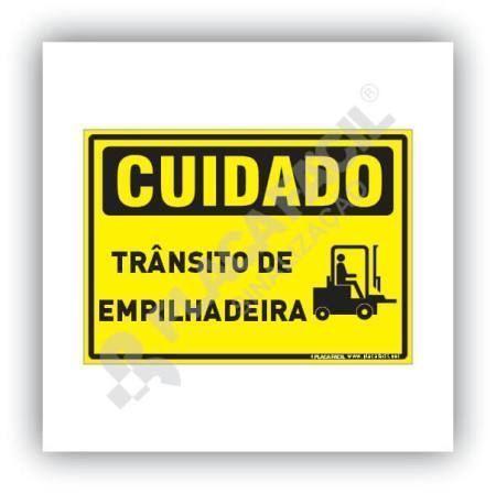 Placa Cuidado Trânsito de Empilhadeira