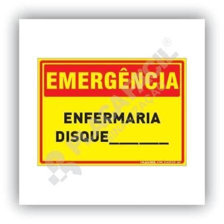 Placa Emergência Enfermaria Disque
