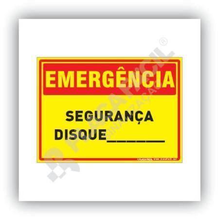 Placa Emergência Segurança Disque