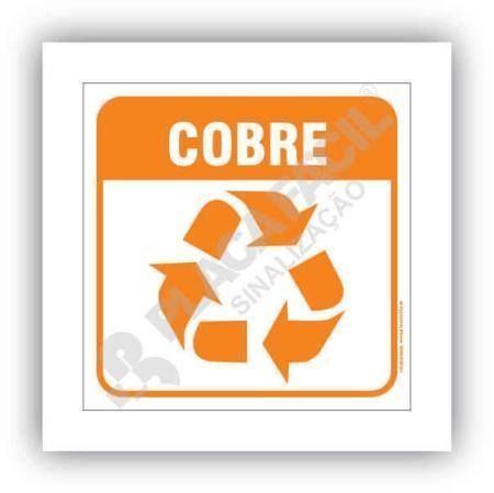 Placa Meio Ambiente Lixo Reciclável Cobre