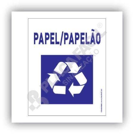 Placa Meio Ambiente Lixo Reciclável Papel e Papelão