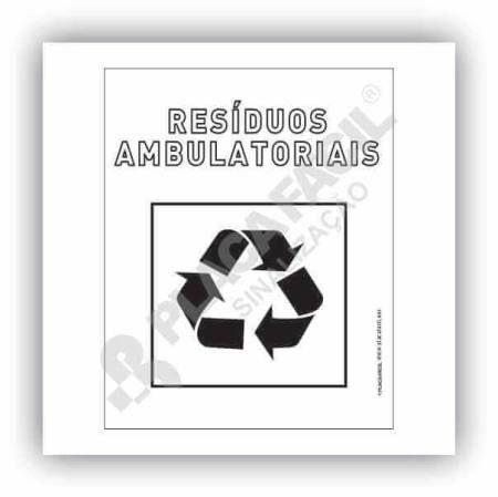 Placa Meio Ambiente Resíduos Ambulatoriais