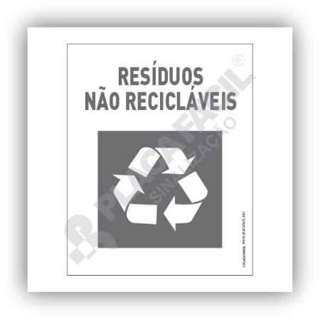 Placa Meio Ambiente Resíduos Não Recicláveis