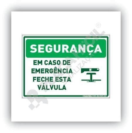 Placa Segurança Em Caso de Emergência Feche a Válvula