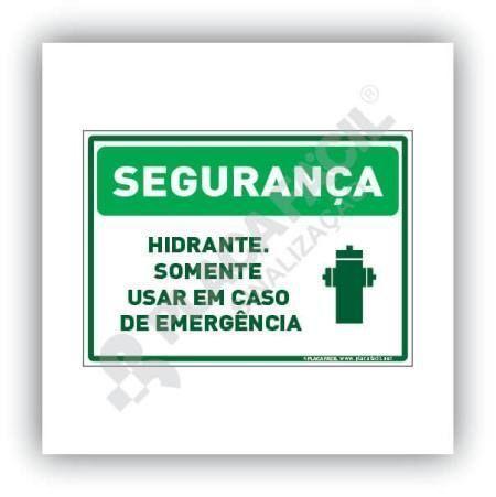 Placa Segurança Hidrante Usar Em Caso de Emergência