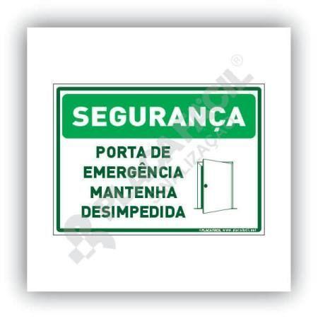 Placa Segurança Porta de Emergência Mantenha Desimpedida