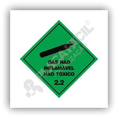 Placa Simbologia de Risco Gás Não Inflamável Não Tóxico