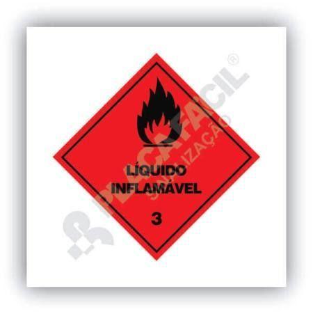Placa Simbologia de Risco Líquido Inflamável 3