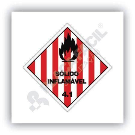 Placa Simbologia de Risco Sólido Inflamável