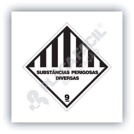 Placa Simbologia de Risco Substâncias Perigosas Diversas