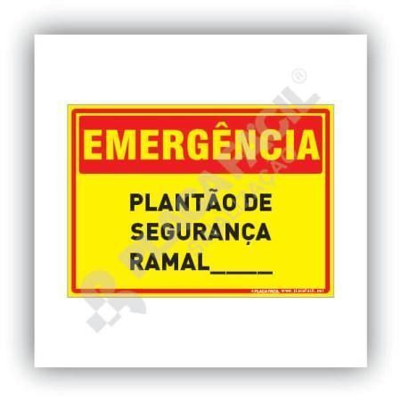 Placa de Emergência Plantão de Segurança Ramal