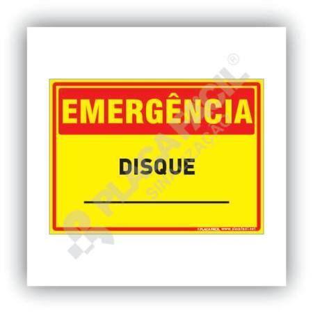 Placa Emergência Disque