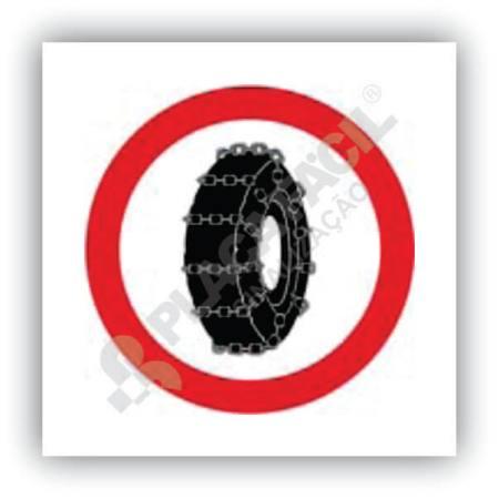 Placa Uso Obrigatório de Correntes nas Rodas do Veículo