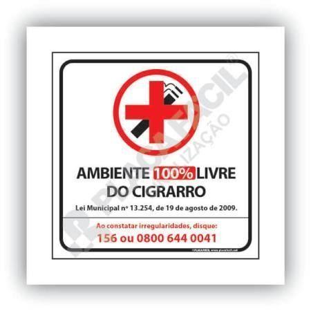 Placa Sinalização Proibido Fumar Curitiba