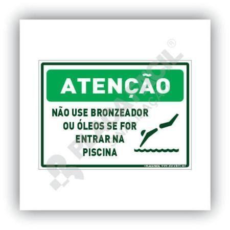 Placa De Sinalização Atenção Não Use Bronzeador Na Piscina