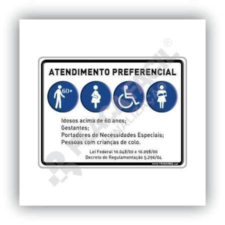 Placa De Sinalização Atendimento Preferencial