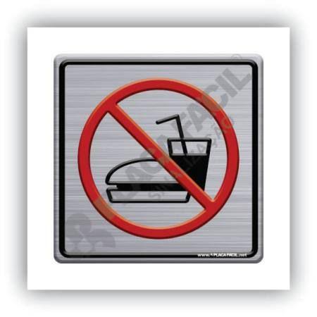 Placa de Sinalização Proibido Comer e Beber