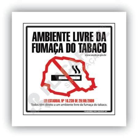Placa Sinalização Proibido Fumar Paraná