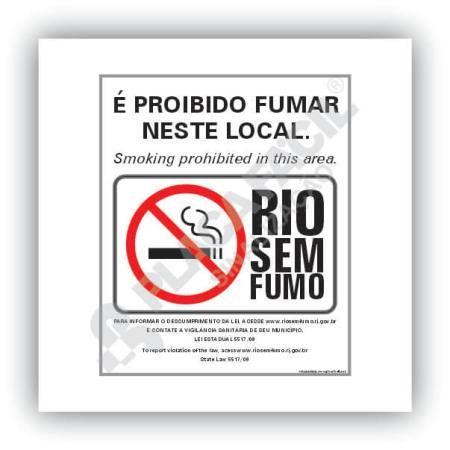 Placa Sinalização Proibido Fumar Neste Lugar Rio