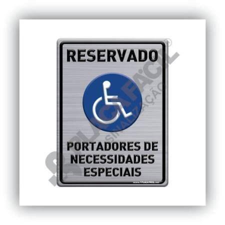 Placa Sinalização Reservado Para Portadores De Necessidades Especiais