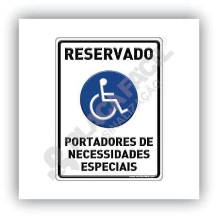 Placa Reservado Para Deficientes Físicos