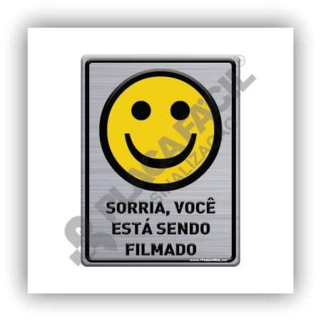 Placa Sinalização Sorria Você Está Sendo Filmado