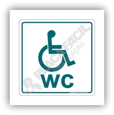 Placa De Sinalização Banheiro Cadeirante WC