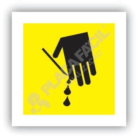 placa de sinalizacao risco de corte nos dedos