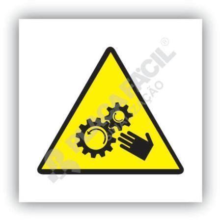 placa de sinalizacao cuidado-com maos nas engrenagens